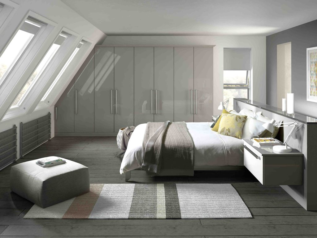 Phoenix in gloss light grey. Sleek simple and shiny, this stylish bedroom range epitomises current trends in a light grey With an unsurpassed high gloss finish.