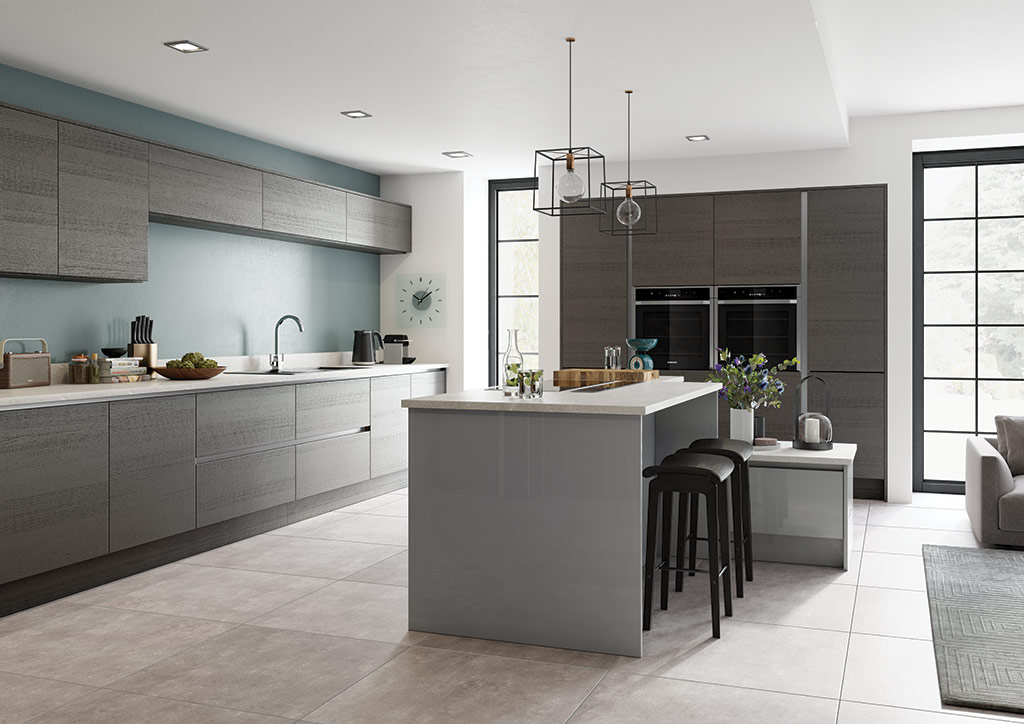 Bespoke Zola Gloss Dust Grey and Tavola Anthracite contemporary kitchen, designed and built in Dungannon, Co Tyrone Northern Ireland.