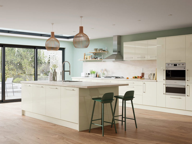 Bespoke Zola Gloss Porcelain contemporary kitchen, designed and built in Dungannon, Co Tyrone Northern Ireland.