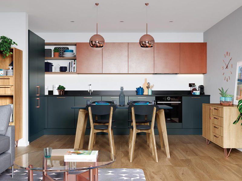 Bespoke Zola Matte Marine contemporary kitchen, designed and built in Dungannon, Co Tyrone Northern Ireland.