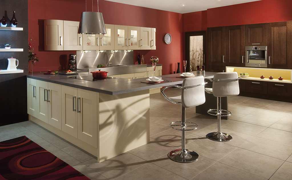 Bespoke Clonmel Wenge Cream modern classic kitchen, designed and built in Dungannon, Co Tyrone Northern Ireland.