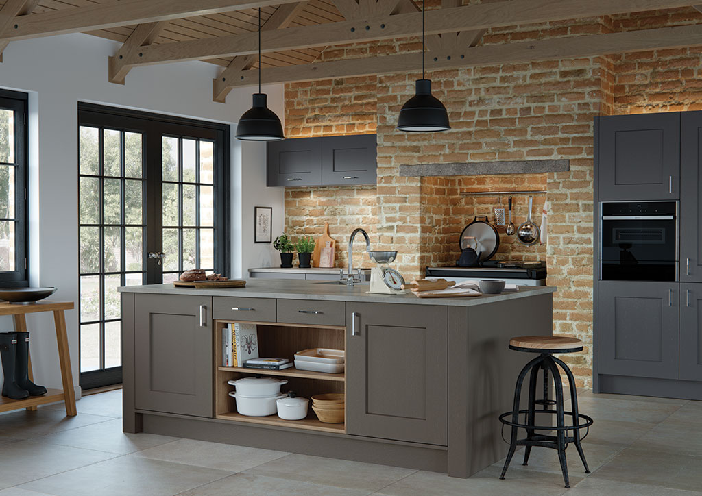 Bespoke Clonmel Lava and Graphite modern classic kitchen, designed and built in Dungannon, Co Tyrone Northern Ireland.