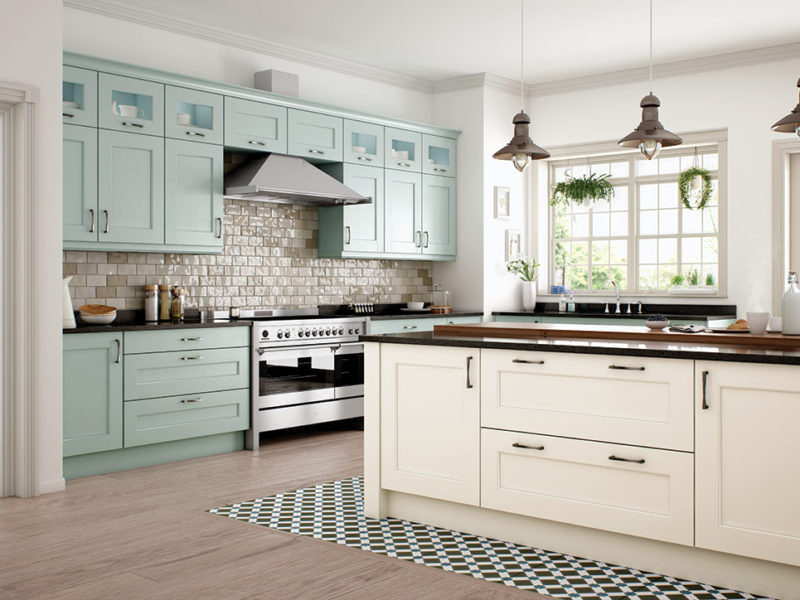 Bespoke Wakefield Ivory Powder Blue modern classic kitchen, designed and built in Dungannon, Co Tyrone Northern Ireland.