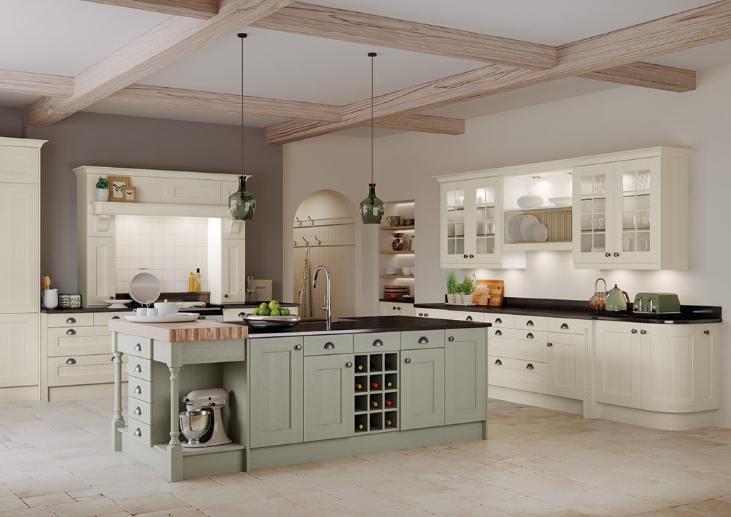 Bespoke Wakefield Ivory Sage Green modern classic kitchen, designed and built in Dungannon, Co Tyrone Northern Ireland.